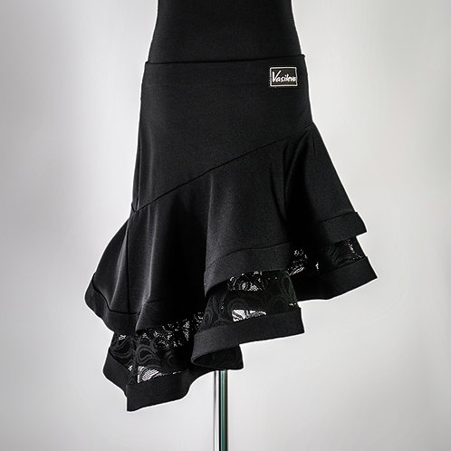Юбка для латины, latina, черная, юбка для бальных танцев, бальные танцы, vasileva, пошив на заказ, юбка на заказ,