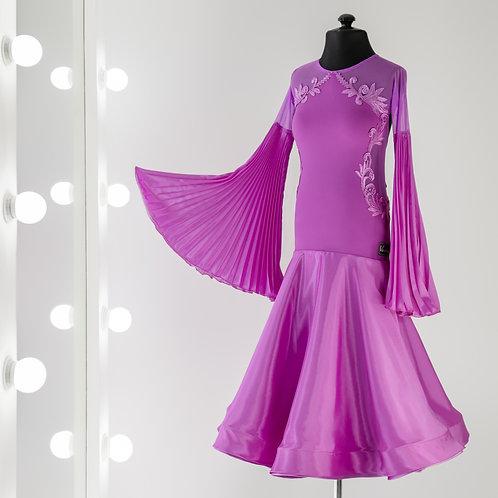 Vasileva dance. Платье для спортивно бальных танцев. Платья для стандарта. Бальное платье. Ю1. Юниоры 1. Гофре. Фуксия. WDSF