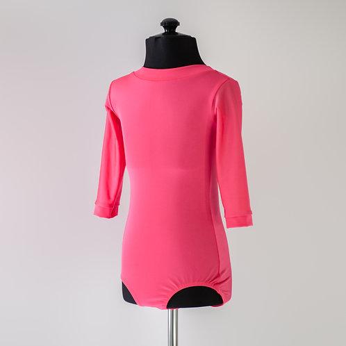 Розовый боди для тренировок по спортивно-бальным танцам из бифлекса. Недорогой купальник. Тренировочная одежда.