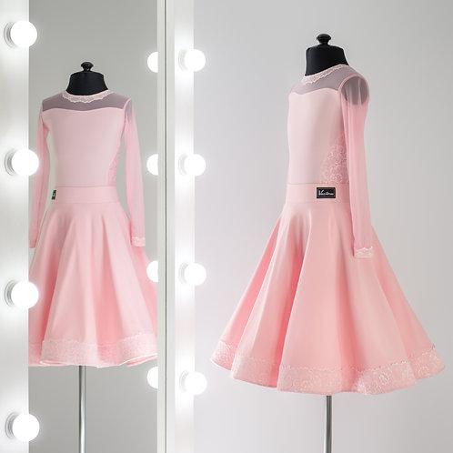 Рейтинговое платье из бифлекса с гипюром и органзой для турнира по спортивным танцам, Рейтинговые платья на заказ
