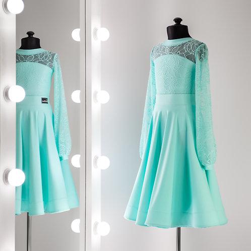 Рейтинговое платье цвета тиффани, юбка срегилином, Платье для турнира, Танцевальная одежда, одежда для танцев, бди с гипюром