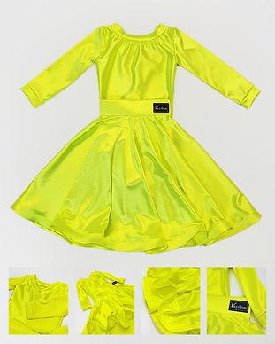 Рейтинговое платье из сатин вельвета Standart 2 от Vasileva dance. Цвет тропик лайм