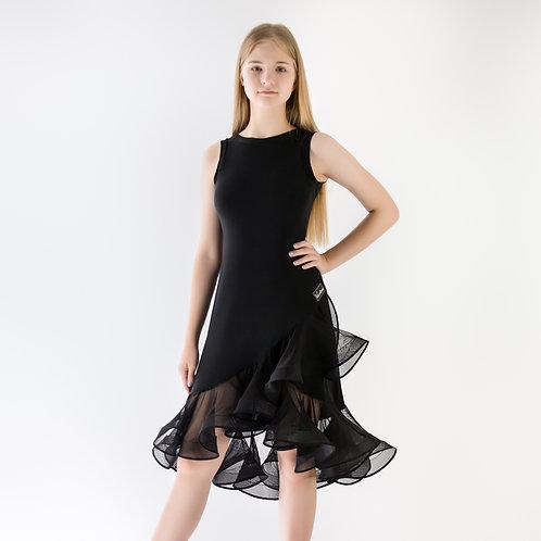 Черное платье с регилином для тренировок по латине. Спортивно-бальные танцы. Танцевальный магазин. Тренировка.