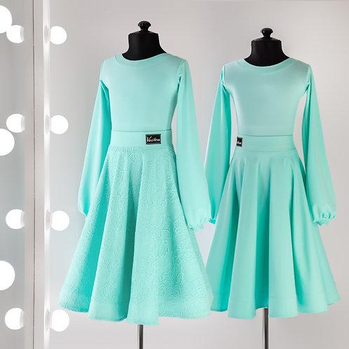 Рукава фонарик цвет тиффани. Платье для танцев и турнира, рейтинговые платья, Рейтинговое платье, двухсторонняя юбка