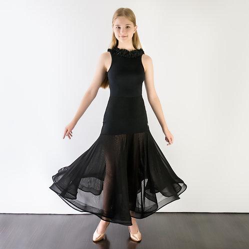 Тренировочная юбка для стандарта из сетки с регилином. Магазин одежды для спортивно-бальных танцев. Одежда для тренировок.