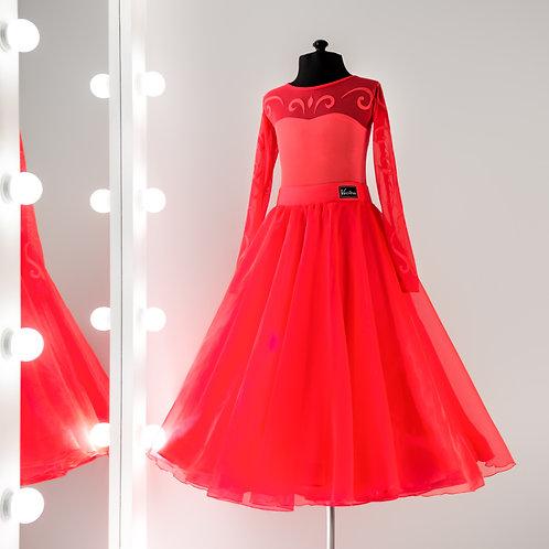 Красное платье для юниоров, Ю1, Платье для стандарта, Dress for ballroom, dancing fashion, fashion dance, Clothes for dancing