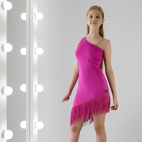 Тренировочное платье с бахромой. Одежда для тренировок по спортивно-бальным танцам в наличии и на заказ. Latina dress. Фуксия