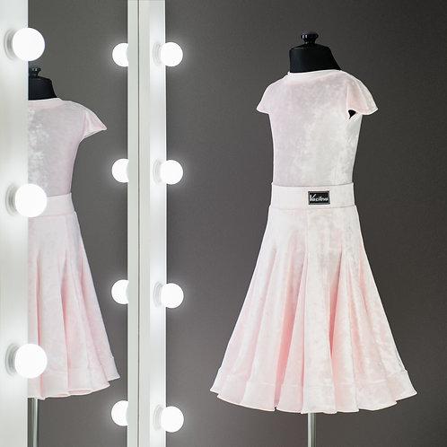 Розовое рейтинговое платье годе 8 клиньев с регилином, Рейтинговые для турнира на заказ, Танцевальная одежда, юбка годе