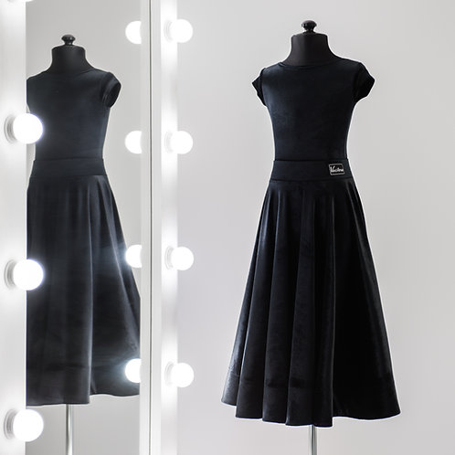 Черное рейтинговое платье с регилином из бархата для турнира по бальным танцам, Рейтинговые платья, 100% Рейтинг на заказ