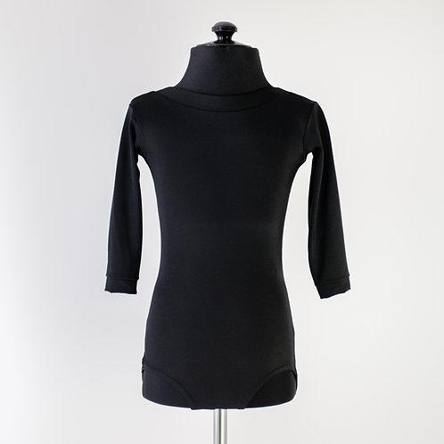 Черный боди для тренировок по спортивно-бальным танцам из бифлекса. Недорогой купальник. Тренировочная одежда.