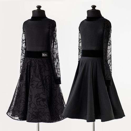 Рейтинговое платье с двусторонней юбкой, флок на сетке, магазин для танцев в Москве, платье для турнира по бальным танцам