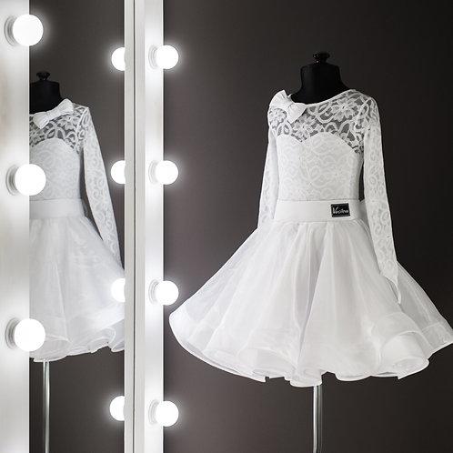 Vanessa, Пышное белое рейтинговое платье для турнира, Рейтинг на заказ, Рейтинговые платья для танцев, Танцевальная одежда.