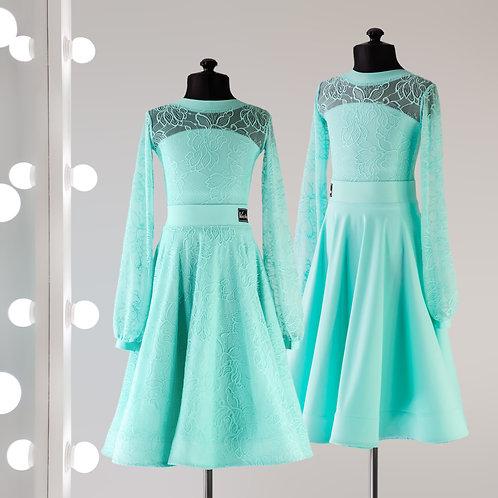 Рукава фонарик, двусторонняя юбка. Платье для танцев и турнира, рейтинговые платья, Рейтинговое платье, двухсторонняя юбка