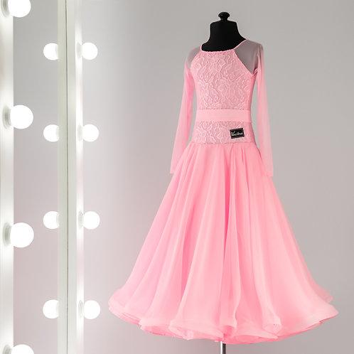 Нежно розовое платье для танцев с поясом, рейтинговые платья, платье для турнира, Рейтинговое платье, Танцевальный магазин