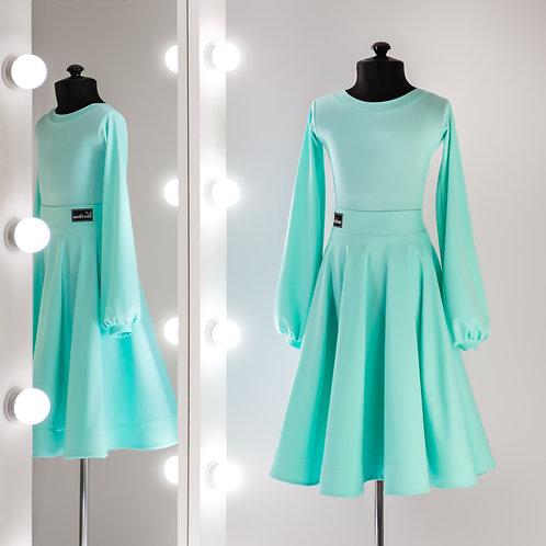 Рейтинговое платье цвета тиффани, Рейтинг на заказ, Платье для турнира, Танцевальная одежда, одежда для танцев, рукав баллон