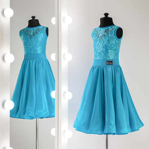 Голубое рейтинговое платье для спортивно-бальных танцев на заказ, Платья для турнира, Танцевальная одежда
