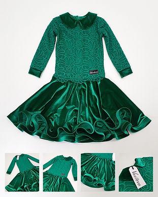 Рейтинговое платье Julia №2 с воротничком в наличии. Зеленое бархатное платье. Одежда для танцев в Москве. Танцевальный магазин