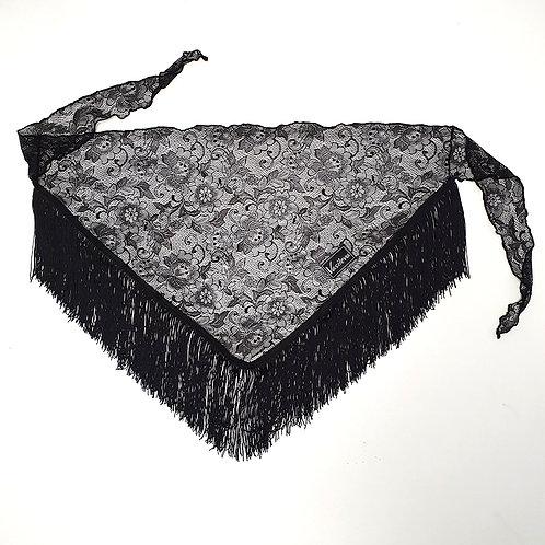 Платок с бахромой для тренировок по спортивно-бальным танцам. Черный платок из гипюра. Танцевальный магазин.