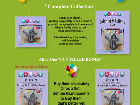 Sandy the Elephants Collection of Story Book & Coloring & Activity Books