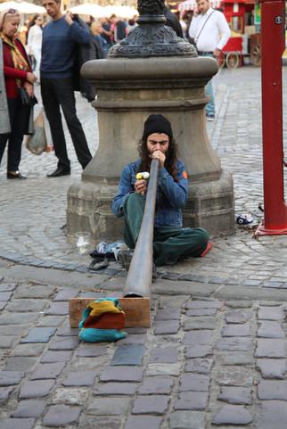 Lviv Street Art - Didgeridoo Musician