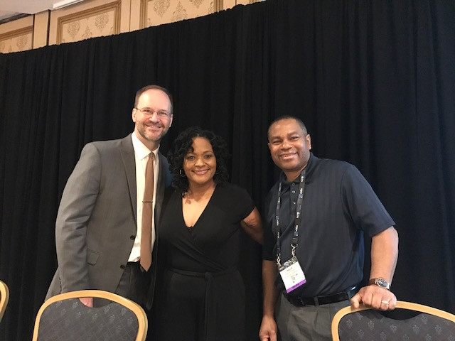 Kimberly and co-presenters Kevin Swift and Phillip Powell at the 2018 Broadcast Education Association conference