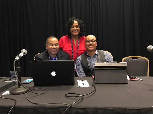 Kimberly with co-presenters Phillip Powell and Victor Evans at the 2018 Broadcast Education Association conference