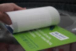 Siebdruck, Aufkleber mit semipermanentem Kleber