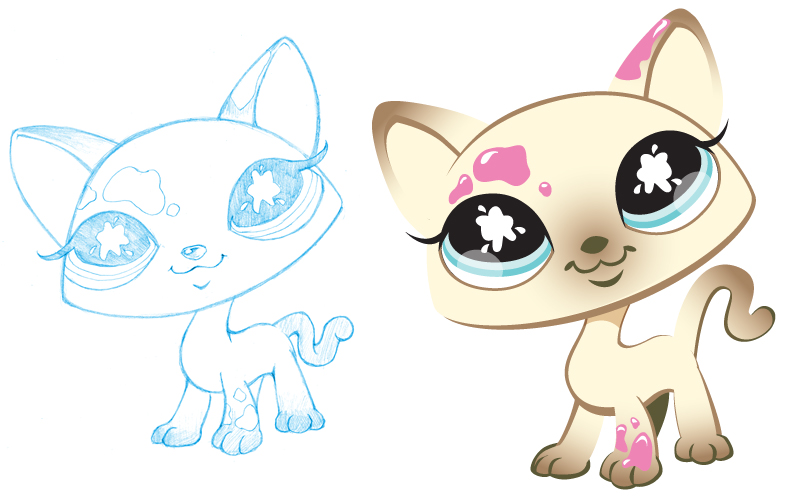 Littlest Petshop - Painted Kitty