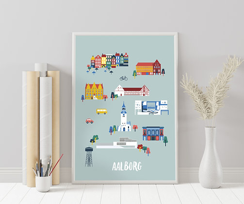 Geïllustreerde stadsplattegrond | Aalborg, Denemarken