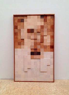 Large wooden art piece of anatomist K.F Wenckebach