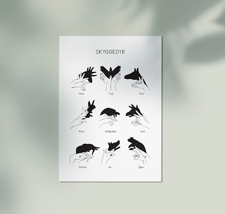 Set van 5 kaarten Schaduwdieren