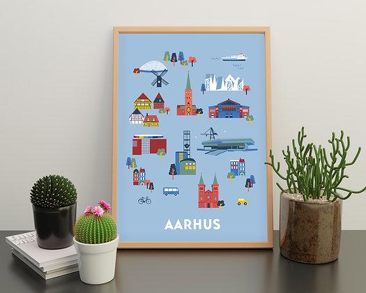 Sæt med 5 postkort Aarhus