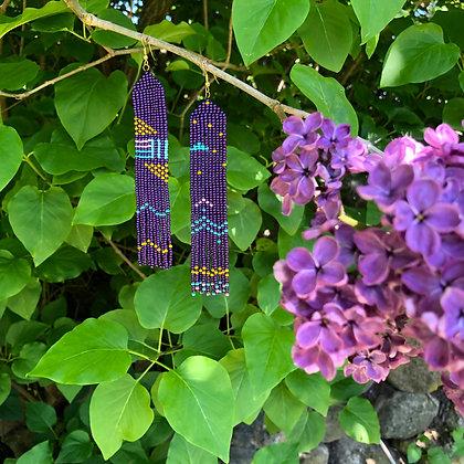 Folk, handmade earrings - Purple