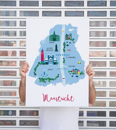 Illustreret bykort | Maastricht, Holland