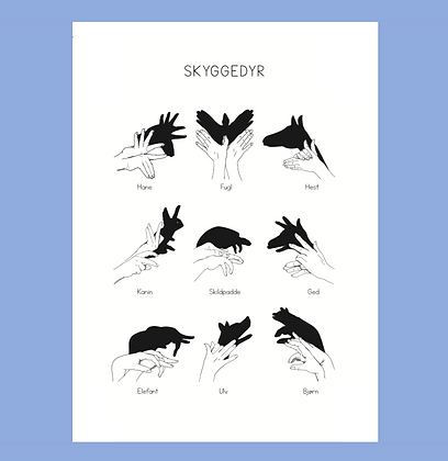 Set of 5 postcards Shadow Animals