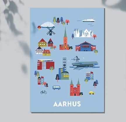 Set of 5 postcards Aarhus