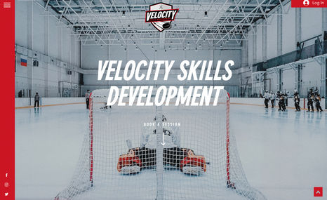 Velocity Skills Development A flashy one-page website for a Hockey Skills Deve...