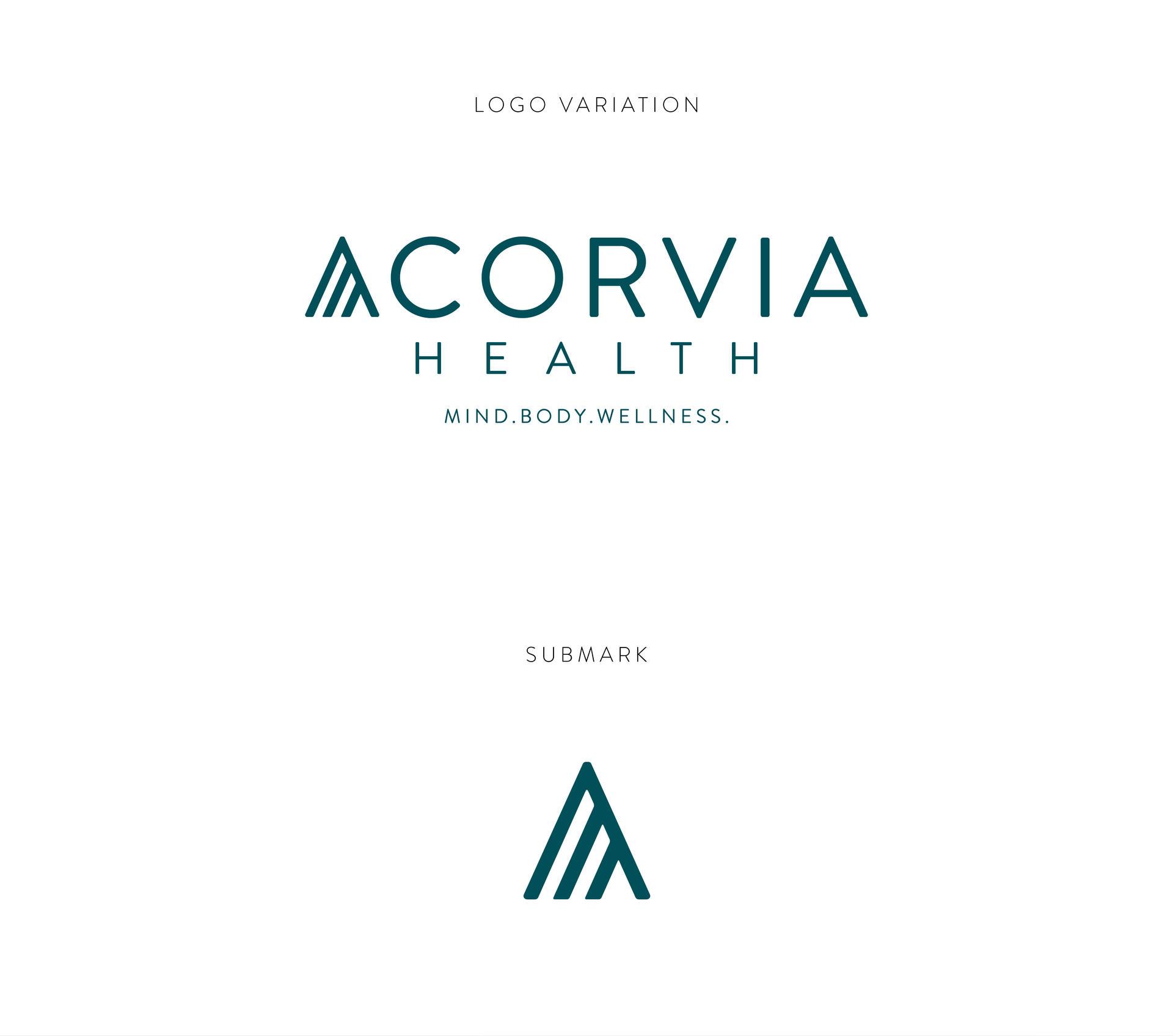 Acorvia Health Logo & Variation