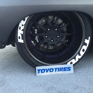 custom designed wheel for Toyo booth sem