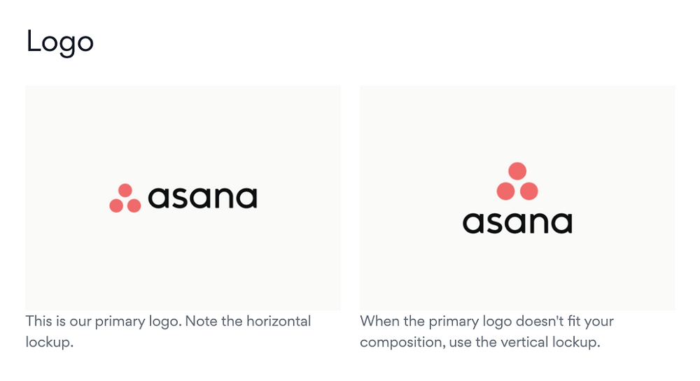 An example of logo variations with the Asana logo, which is part of good logo design.