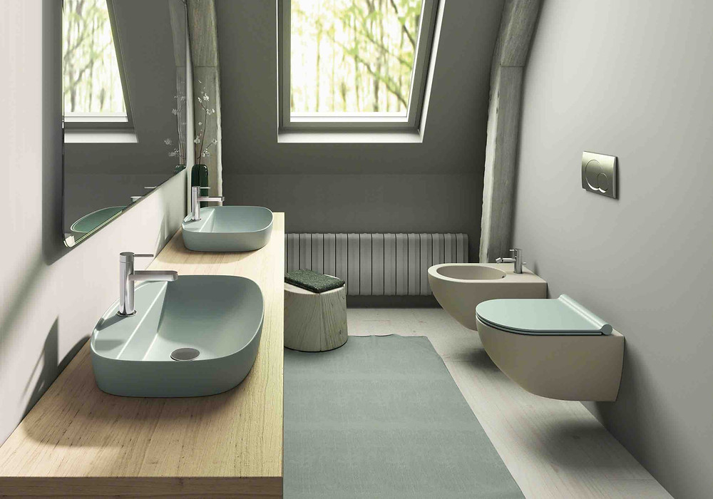 Green Lux 60 semi inset basin in Verde with Sfera 55 wc in Satin Grey and Satin Green lid