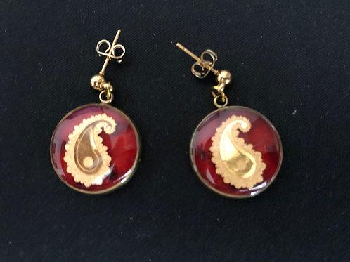 Earring  24k Gold foil & Natural stone