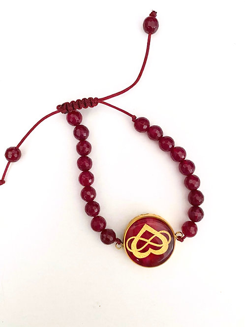 Bracelet Heart & Infinity 24k Gold foil & Natural stone
