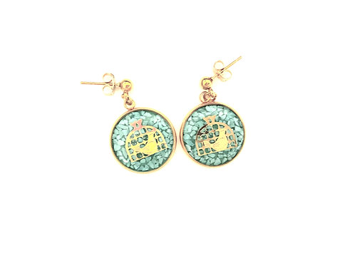 Wish Bird Earring  24k Gold foil & Natural stone