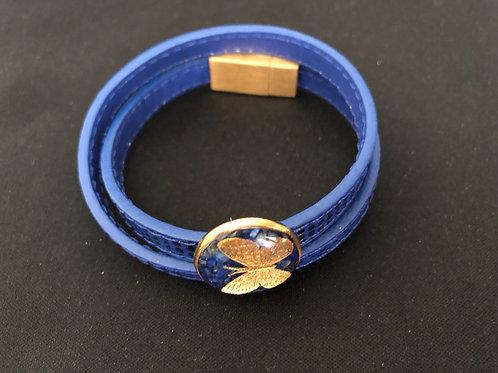 Butterfly Bracelet 24k Gold foil & Natural Leather