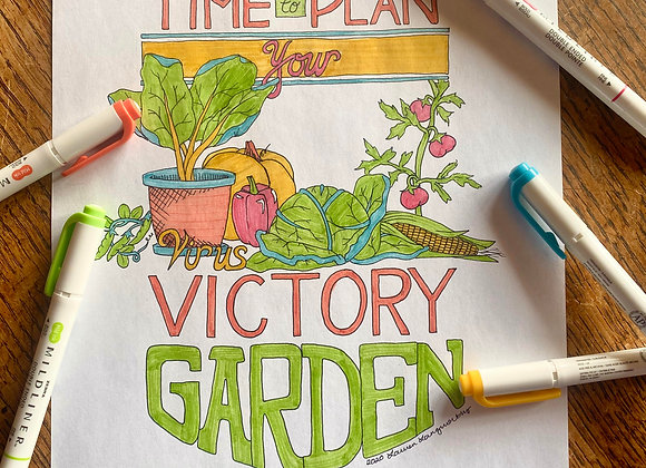 Coloring Page: 2020 Victory Garden Poster