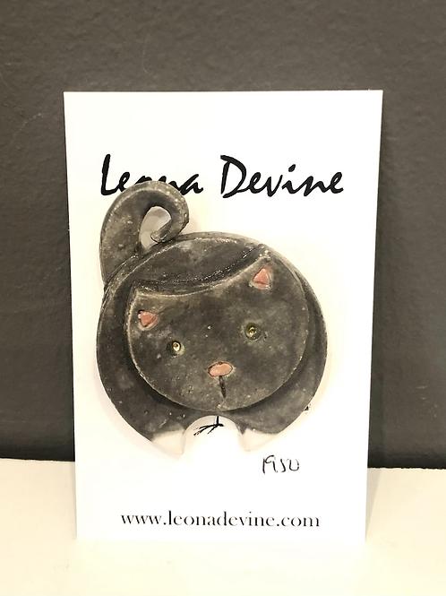 Leona Devine Ceramic Cat Brooch