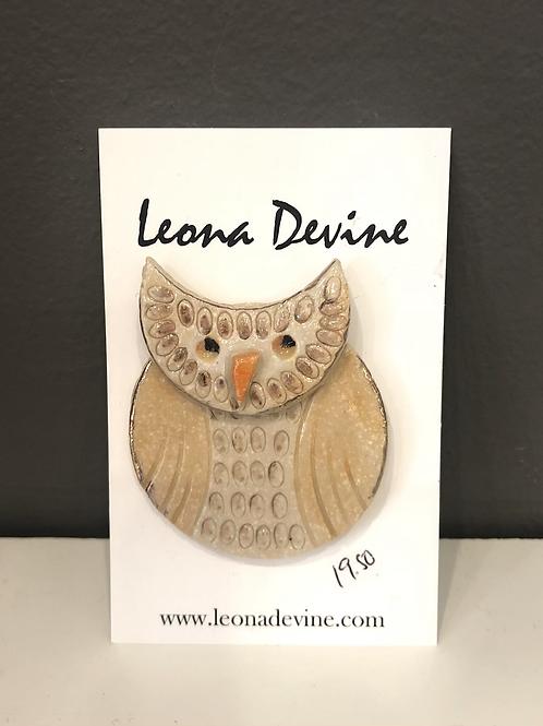 Ceramic Owl Brooch