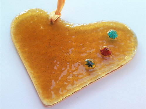 Kings Forge Glass Heart - Golden Amber