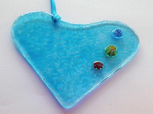 Kings Forge Glass Heart - Blue